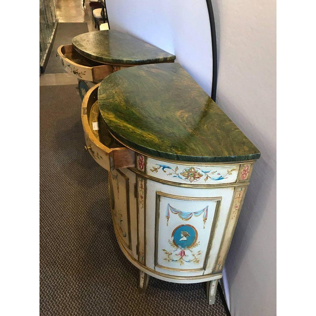 Adams Style Demilune Painted Commodes - A Pair - Image 10 of 11