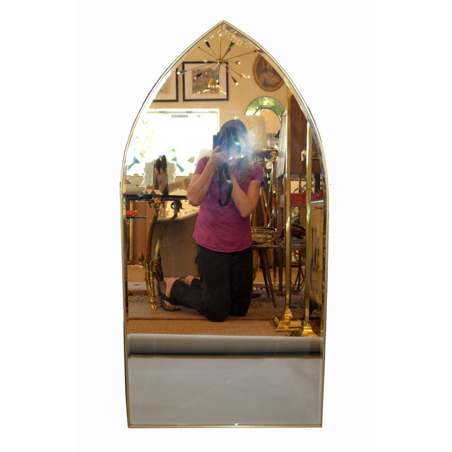 Italian Gothic Arch Brass Wall Mirror Hollywood Regency For Sale - Image 12 of 13