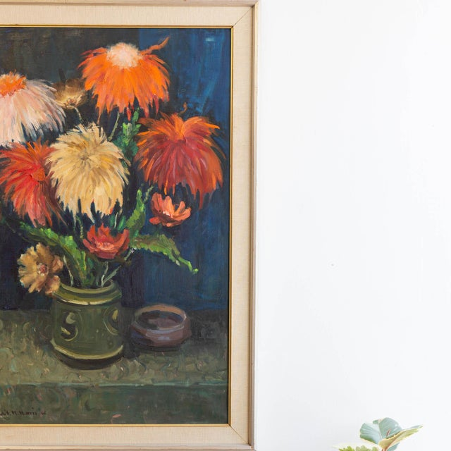 1962 Signed Still Life Oil Painting of Flowers For Sale - Image 4 of 8