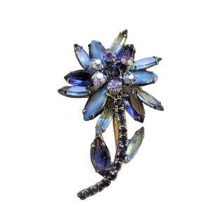 Vintage Blue Juliana Rhinestone Flower Brooch