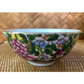 Hand Painted Pink Blue and Green Chinoiserie Floral Porcelain Bowl Preview