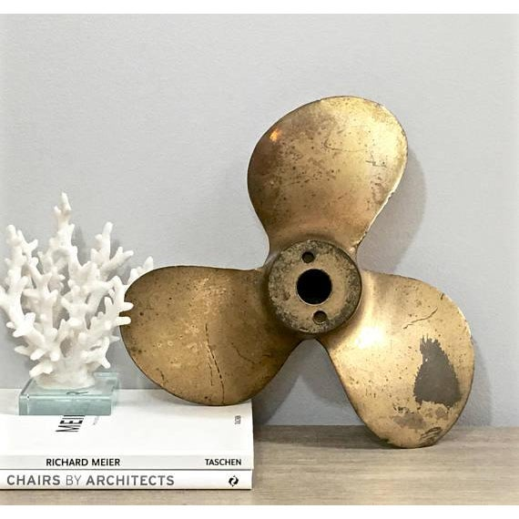 Nautical Large Vintage Brass Boat Propeller For Sale - Image 3 of 11