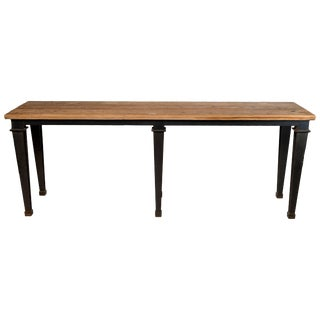 Steel Transitional Console Table With Wooden Top For Sale