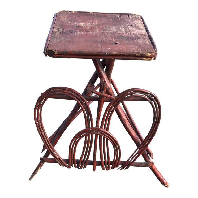 Twig Rustic Adirondack End Side Table For Sale