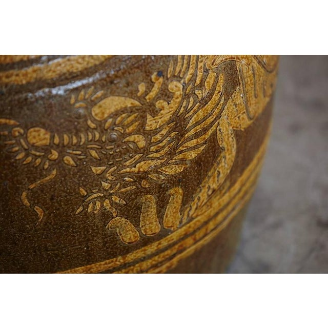 Yellow Korean Glazed Clay Dragon Water Jar For Sale - Image 8 of 8