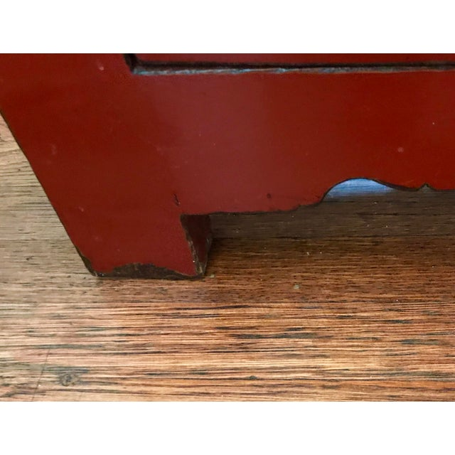 20th Century Chinese Cinnabar Colored Lacquered Sideboard Buffet For Sale - Image 9 of 11