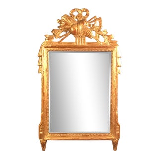 18th Century French Louis XV Provincial Giltwood Mirror With Hand Carved Frame For Sale