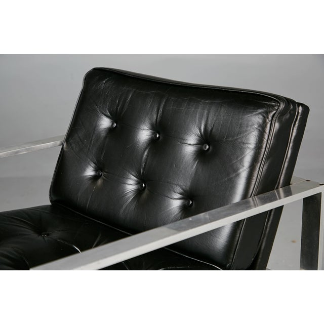 Aluminum 1960s Harvey Probber Aluminum and Black Tufted Leather Armchairs - a Pair For Sale - Image 7 of 11