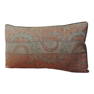 Antique Kashmir Paisley Lumbar Decorative Pillow For Sale