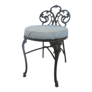 French Style Black Metal Vanity Chair For Sale