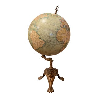 19th Century French Terrestrial Globe on Iron Stand Signed J. Lebegue & Cie For Sale