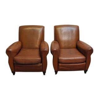 Vintage Imported Leather Club Chairs - a Pair For Sale