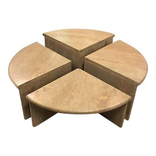Round Travertine Cocktail Table in Four Pieces, Italy, 1970s - Set of 4 For Sale