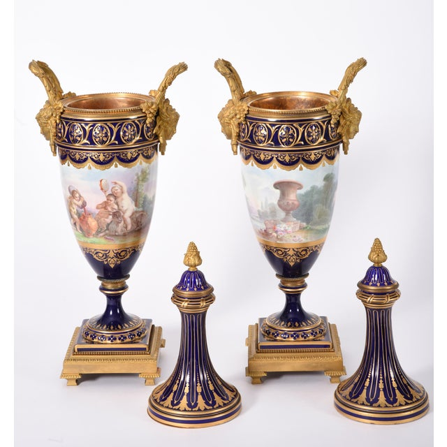 Early 19th Century Bronze Mounted Porcelain Urns - a Pair For Sale - Image 4 of 13