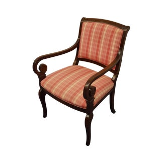 Hickory Chair Co. Italian Provincial Plaid / Striped Upholstered Arm Chair For Sale
