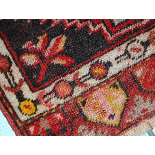 Red 1960s, Handmade Vintage Turkish Yastik Rug 1.6' X 3.1' For Sale - Image 8 of 12