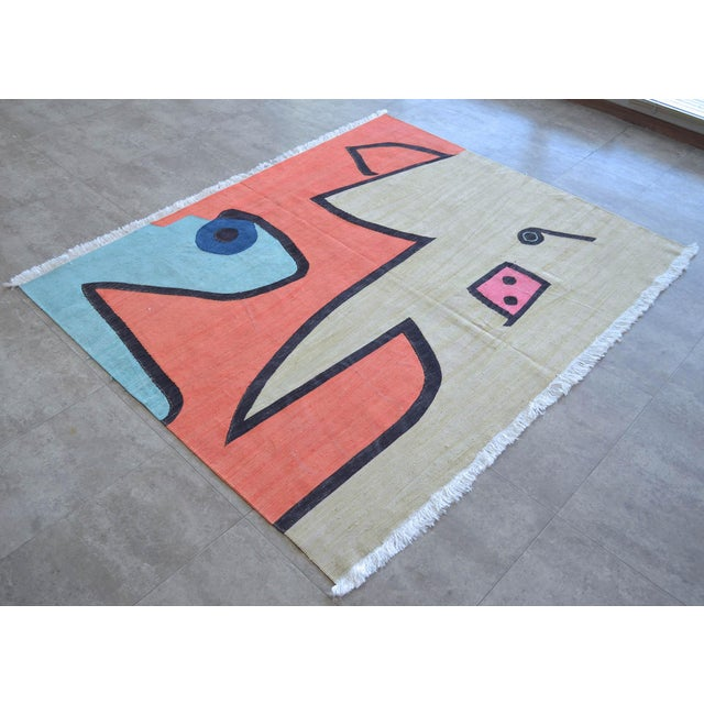 Art Deco Paul Klee - Silence of the Angel - Inspired Silk Hand Woven Area - Wall Rug 4′7″ × 5′7″ For Sale - Image 3 of 11