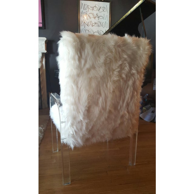 1970's Vintage Faux Fur & Lucite Chairs - Set of 4 - Image 4 of 5