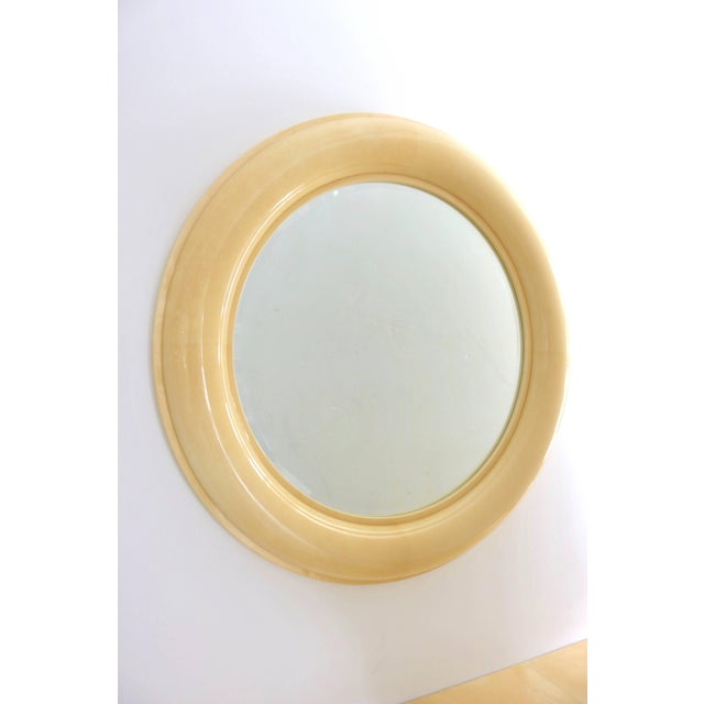 Late 20th Century Art Deco Revival Goatskin Lacquered Console & Mirror by Lucien Rollin for William Switzer For Sale - Image 5 of 11