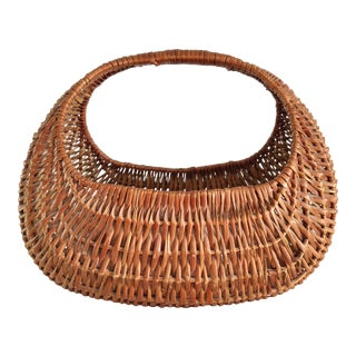 20th Century Rustic Hand Woven Gondola Basket For Sale