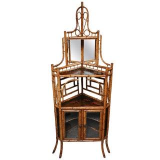 Superb 19th Century English Bamboo Corner Cabinet