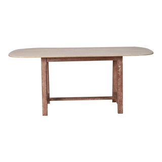 French Bleached Dining Table with Painted Base For Sale