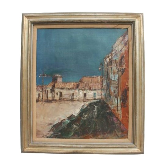 Expressionist Oil on Canvas Cityscape Painting For Sale