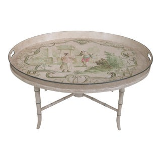 Tole Paint Decorated Tray Top Coffee Table