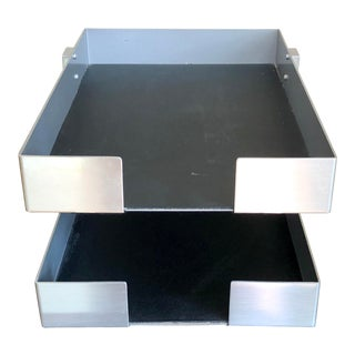 Mid Century Chrome Duk-It Two-Tier File Organizer Paper Tray For Sale