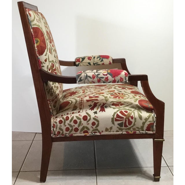 Fantastic hand carve French wood armchair from the 1940s, professionally restored, newly upholsted with beautiful vintage...