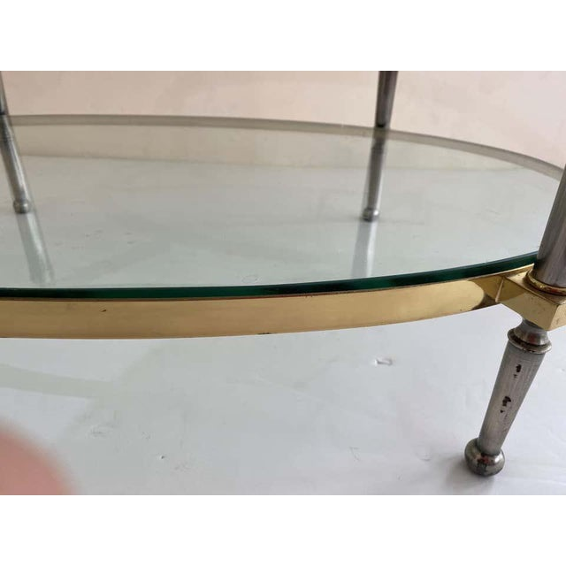 Trouvailles Furniture Inc. Trouvailles Steel and Brass Oval Cocktail Table For Sale - Image 4 of 13