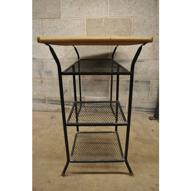 Vintage Mid-Century Modern Wrought Iron & Metal Mesh Small Writing Desk Work Table For Sale - Image 11 of 12