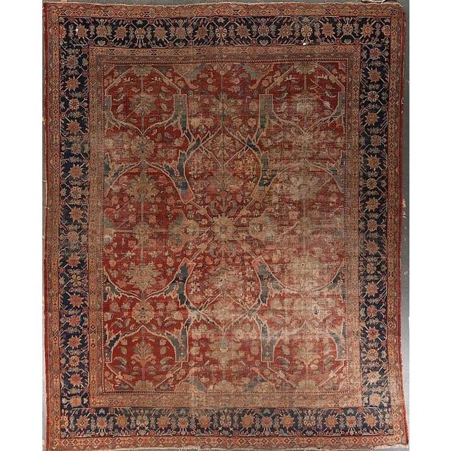 "Distressed Antique Sultan Abad Rug - 11'0"" X 13'6"" For Sale"
