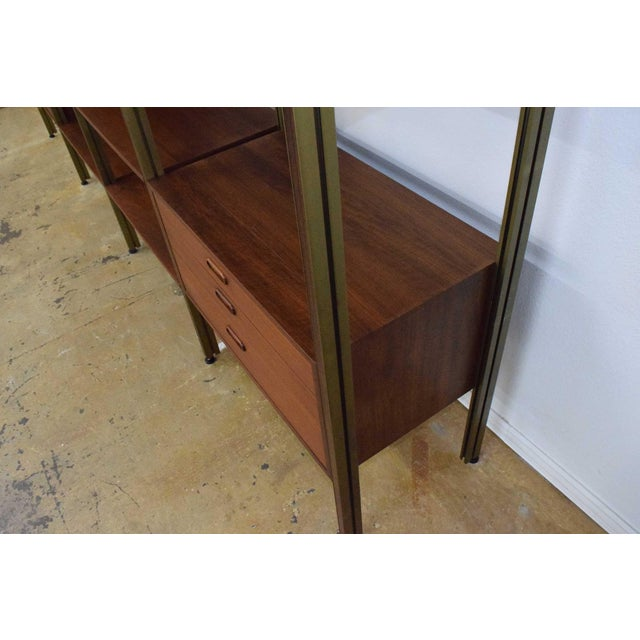 Large Four Bay George Nelson Walnut and Bronze Omni System For Sale - Image 11 of 13