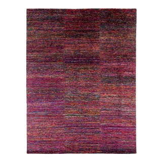 Modern Multicolored Silk Area Rug by Carini, 9'x12' For Sale