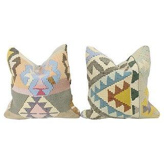 Geometric Turkish Kilim Throw Pillows - A Pair Preview
