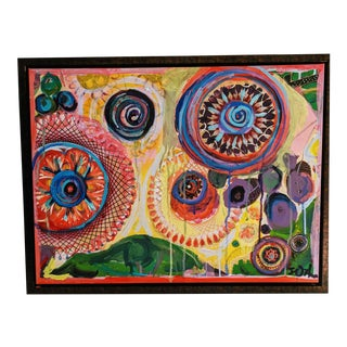 Abstract Keleidescope Painting in the Style of Beatriz Milhazez For Sale
