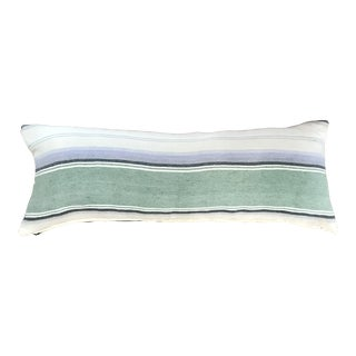 Striped Pastel Mexican Blanket Lumbar Pillow Cover For Sale