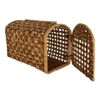 Wood & Raffia Pet Carrier Basket For Sale