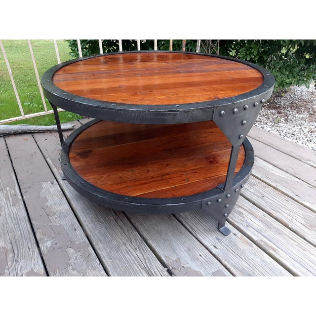 Chestnut Industrial Farmhouse Round 2 Tier Reclaimed Chestnut Wood & Steel Coffee Table For Sale - Image 8 of 13
