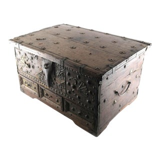 Early 19th Century Antique Mahogany Iron-Bound Strong Box For Sale
