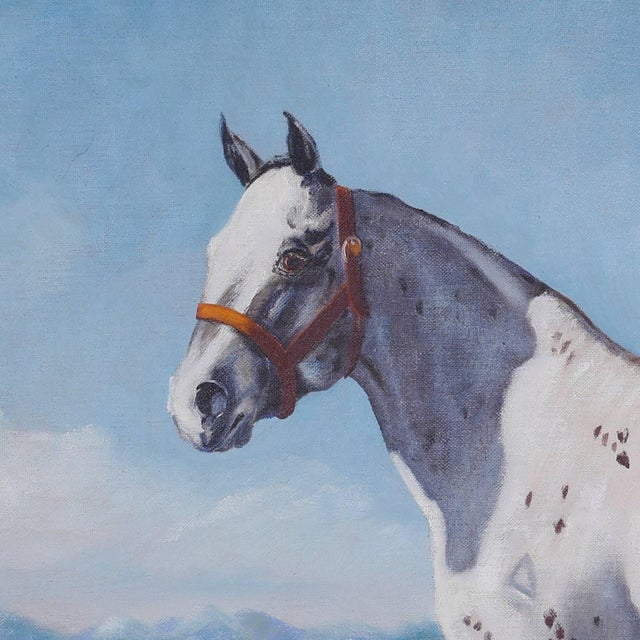 Traditional Oil Painting of a Horse on Board For Sale - Image 3 of 6