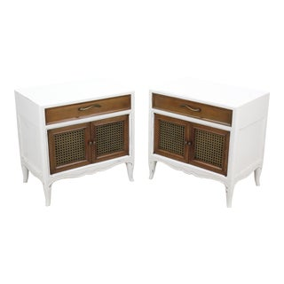 Pair of Mid-Century Walnut Nightstands, Pair of White Nightstands For Sale