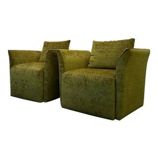 Mid-Century Italian Style Split Wing Arm Chairs - A Pair