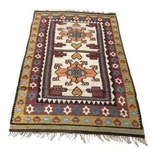 Vintage Turkish Anatolian Olive Green Kilim Wool Rug - 2′11″ × 4′7″ For Sale