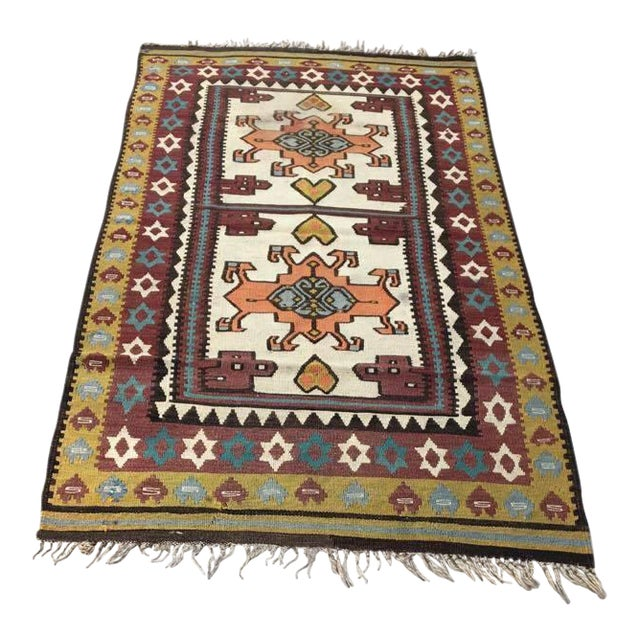 Vintage Turkish Anatolian Olive Green Kilim Wool Rug