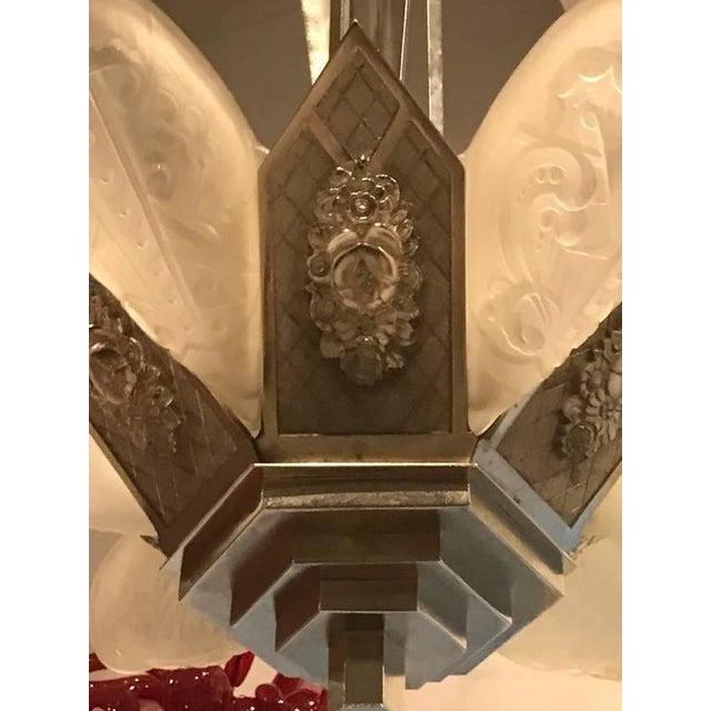 """German Art Deco Chandelier with """"Skyscraper"""" Motif - Image 3 of 10"""