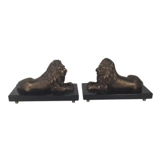 Bronze and Slate Lions - A Pair For Sale