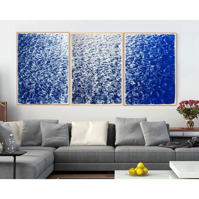 """Triptych """"The Cove"""" / Cyanotype Print on Watercolor Paper / Limited Edition / 100 X 210 CM For Sale In Miami - Image 6 of 12"""