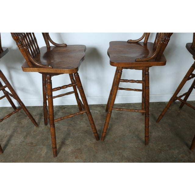 Country Style Solid Oak Bar Stools - Set of 4 - Image 8 of 9